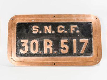 Plaque de locomotive 141 R 804 SNCF, en bronze....