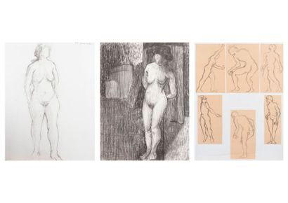 SAUTOUR-GAILLARD Jean René SAUTOUR-GAILLARD (1946-2016)  Cinq études de nus féminin...