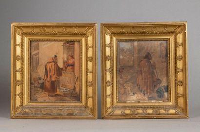 ECOLE ITALIENNE DU XIXE SIECLE  Maternité  Prière à la Vierge  Deux aquarelles et...