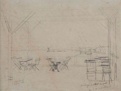 ANDRE MARCHAND (1907-19097)  Le café, Hyères...