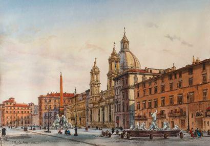 Enrico NARDI (1864-1947)  Vue de Rome, place...