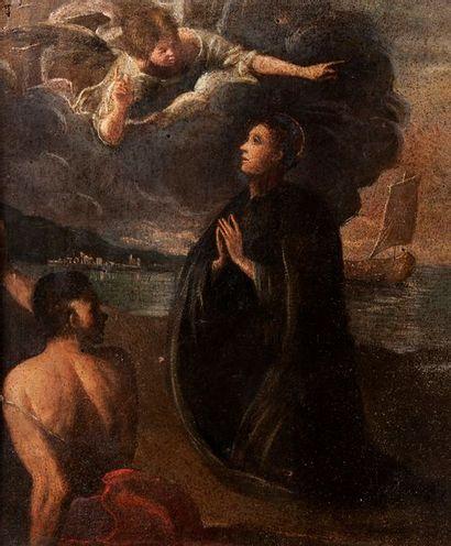 Ecole bolonaise du XVIIe siècle  L'ange apparaissant...