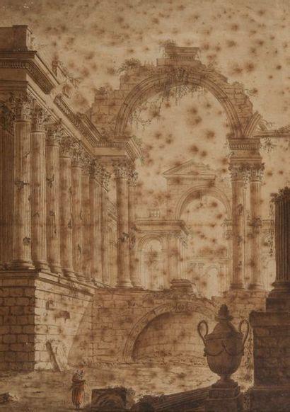 ECOLE FRANCAISE DU XVIIIE SIECLE.  Ruines...