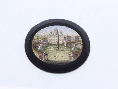 Motif ovale en pâte de verre décoré d'une...