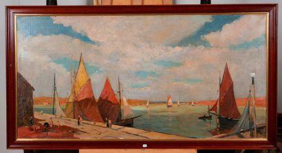 Ecole française  Rives bretonnes et bateaux...