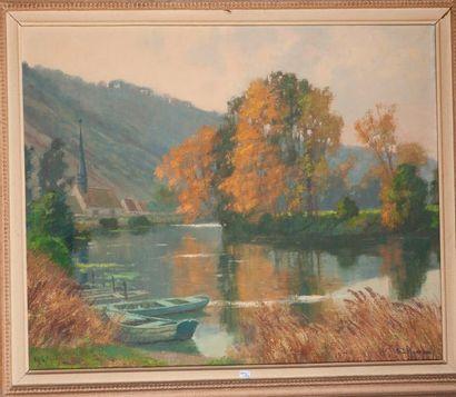 Ecole Xxe  Paysage a la riviere, barques...