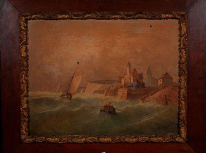 Ecole XIXe   Marine au port  Huile sur toile...