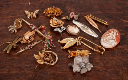 Lot de bijoux de fantaisie (camee coquillage,...