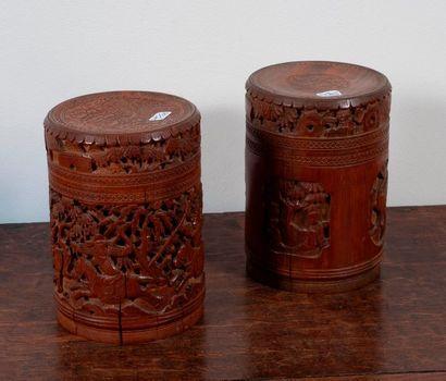 Paire de boites a thé en bamboo à décor ajouré...