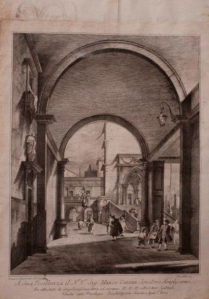 D'après Francesco Guardi  Caprice architectural,...