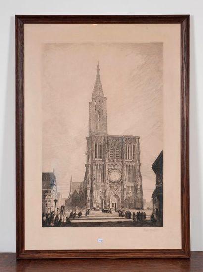 Ecole XIXe  Notre Dame de Strasbourg  gravre...