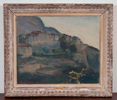 Maurice Asselin  Paysage au village  Huile...