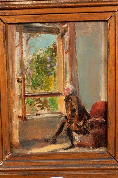 Ecole française  Homme a la fenêtre  Huile...