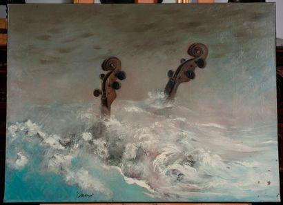 Ecole Moderne  Vilolons dans la tempête  Huile sur toile signé en bas à gauche Maigret...