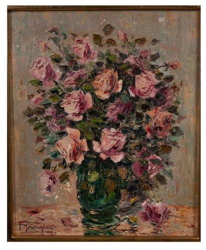 Ecole moderne  bouquet de roses  Huile sur...