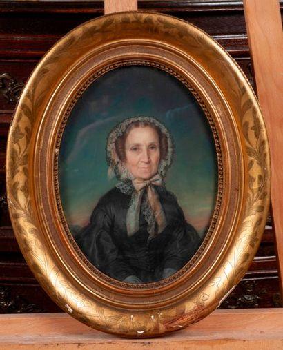 Dans le gout du XIXe  Portrait de dame  Pastel...