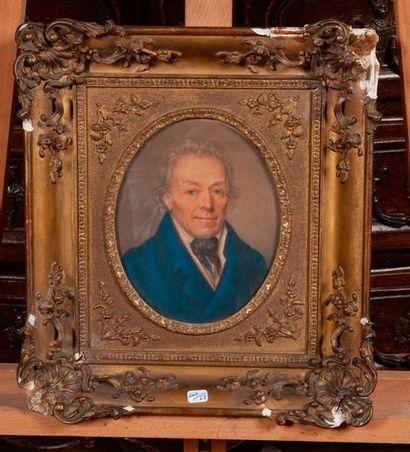 Ecole XIXe   Portrait de monsieur à la veste...