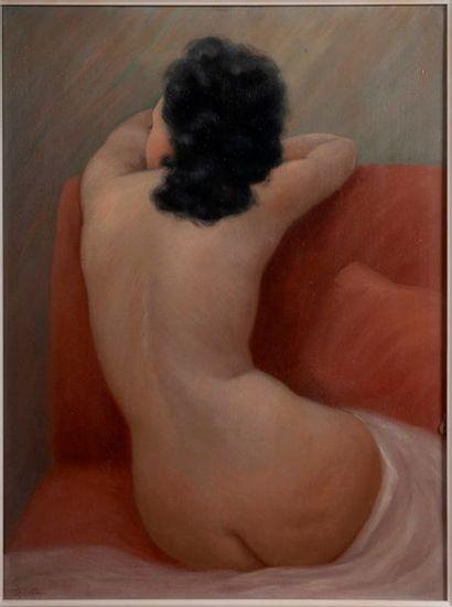 Ecole XIXe  Femme nue de dos sur canape  Huile...