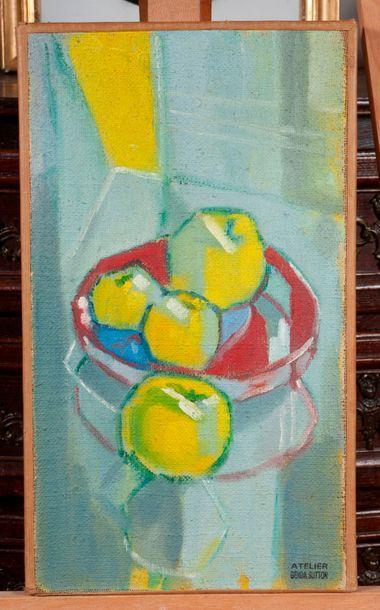 Ecole moderne  Les pommes  Huile sur toile...