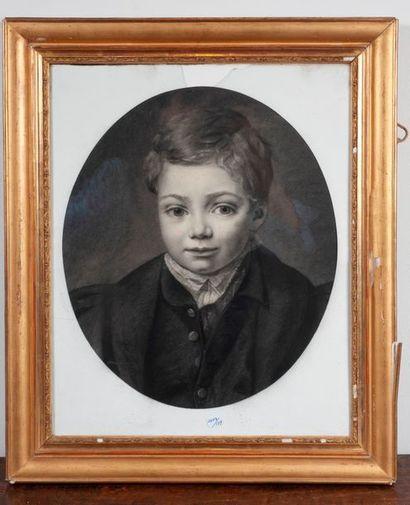 Ecole XIXe  Portrait de jeune homme  Dessin...