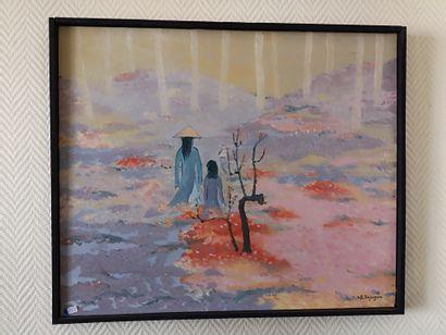 Ecole VIETNAMIENNE  Mère et sa fille  Toile,...