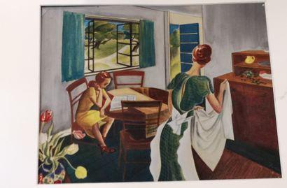 Charles TUDOR (XXe siècle) Scène d'intérieur,...