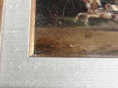Ecole du XIXe siècle  La charrette  Panneau de chêne, signé en bas à gauche Benard....