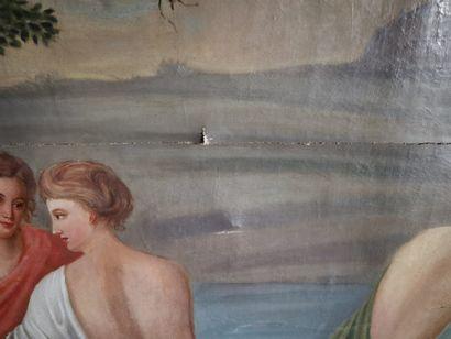 Dans le goût du XVIIIe siècle.  Jeunes femmes au bain  Toile.  127 x 208 cm environ...