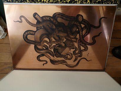 Plaque de gravure en cuivre.  35 x 54 cm