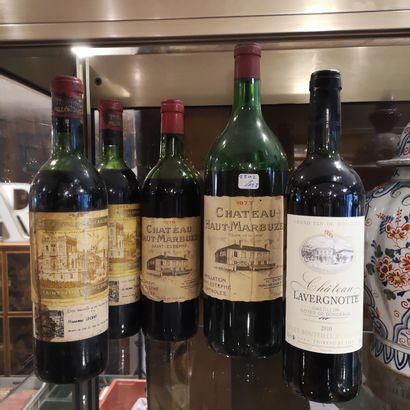 Lot de bouteilles de vins dont Château Haut-Marbuzen...