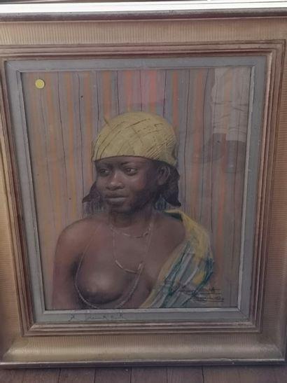 Georges CRETELLE ( XIX-XXe siècle)  Portrait de femme africaine, Braazzaville, 1930...