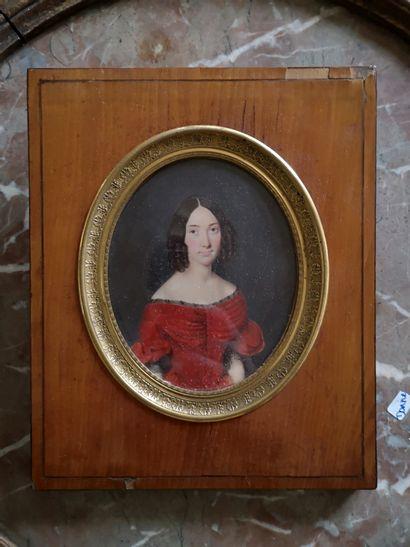 Ecole FRANCAISE vers 1830, P.Perin  Portrait...