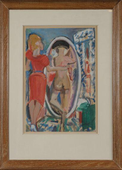 François Desnoyers  Devant le miroir.  Aquarelle...