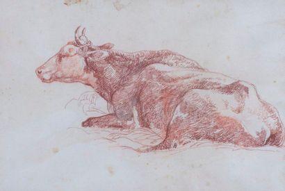 A.Benouville 'Attribué À)  Vache  Sanguine, tâches  16 x 23 cm