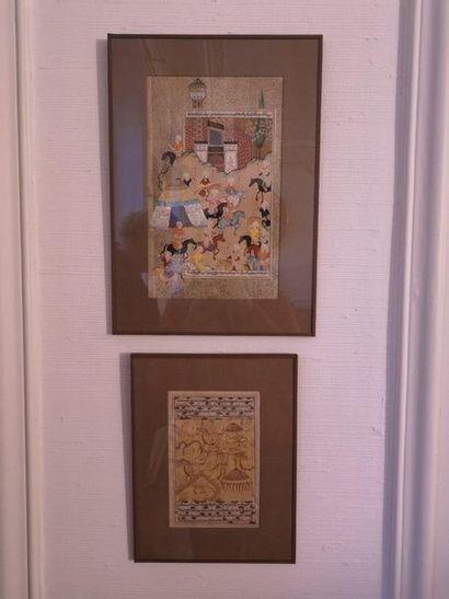 Deux miniatures, pages de Coran ou de livre....