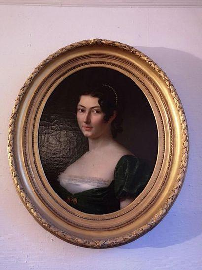 Ecole ITALIENNE vers 1820  Portrait de femme....