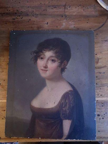 Ecole FRANCAISE vers 1815 Portrait de femme...
