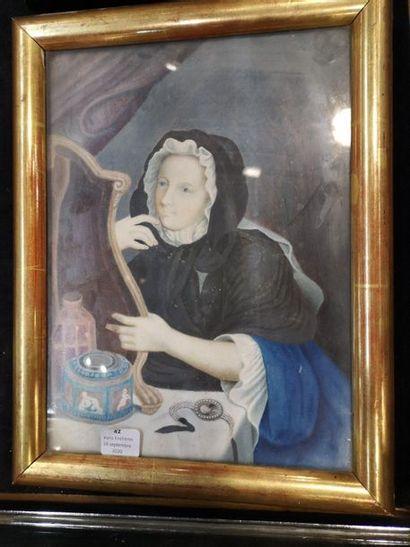 Ecole française du XVIIIe, jeune femme à...
