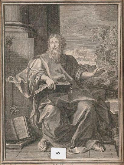 Gravure ancienne représentant Saint Paul...