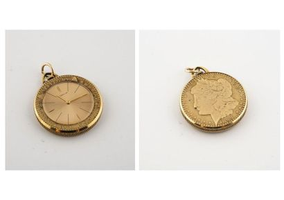 (étiqu 90) Gubelin. Pendentif montre en métal...