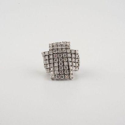 Bague Croix en or gris 18K (750°/00) au motif...
