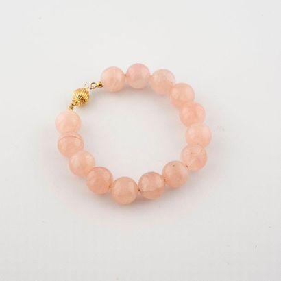 Bracelet de perles de quartz rose, fermoir...