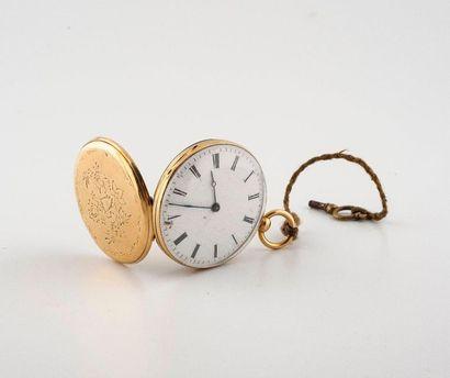 (étiqu 92) Montre de poche en or jaune 750°/00....