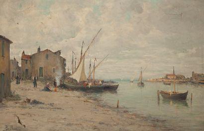 Auguste BERTHON (1858-1917)  Village portuaire...