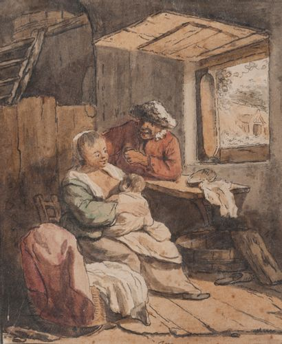 Ecole flamande vers 1800  L'allaitement  Aquarelle,...