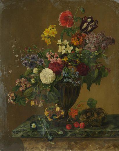 Ecole LYONNAISE vers 1840  Bouquet de fleurs...