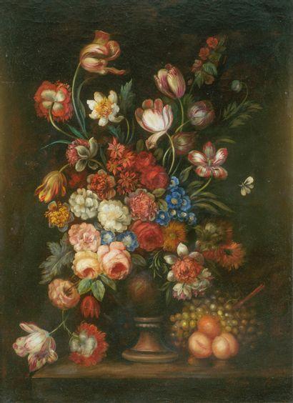 Dans le goût du XVIIIe siècle  Vase fleuri....