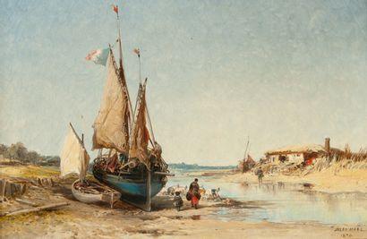 Jules Achille NOËL (1810-1881)  Lavandières...