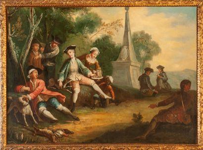 Ecole ESPAGNOLE  vers 1780  Déjeuner à l'Obélisque...