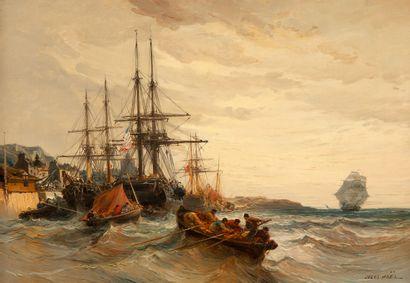 Jules Achille NOËL (1810-1881)  Bateaux amarés,...